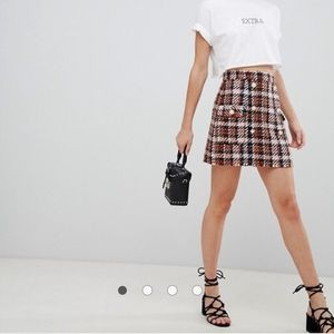ASOS DESIGN tweed mini skirt with pearl buttons
